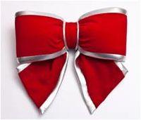 Terciopelo rojo arco con plata Edge - 25cm - 2216 -