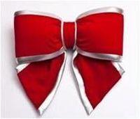Terciopelo rojo arco con plata Edge - 30Cm - 2296 -